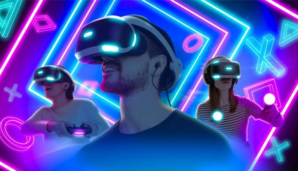 Three people wear PSVR headsets and smile in wonder in front of a neon background