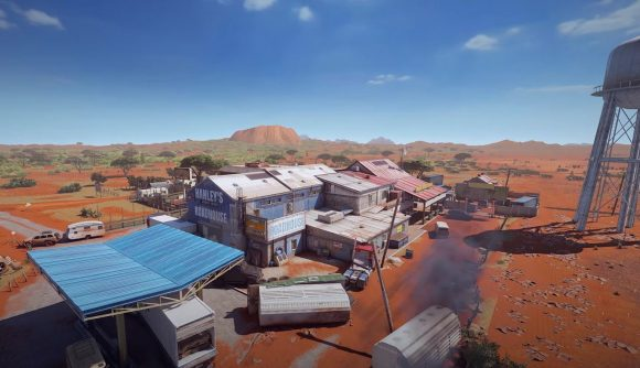 An aerial shot of Rainbow Six Siege map Outback
