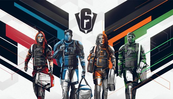 Four Siege operators walk towards the camera carrying bags