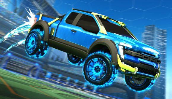 A Ford SUV flies through the air in Rocket League
