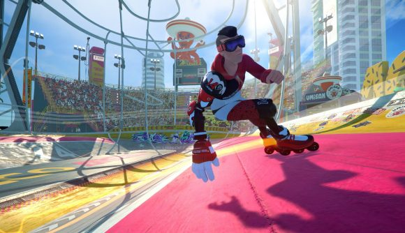 A player skating on rollerblades in Roller Champions