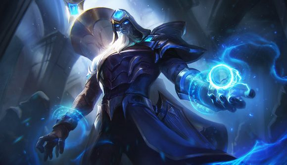 Ryze, a blue mage with a giant white and gold scroll on his back