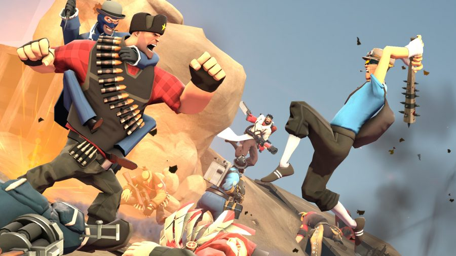 Team Fortress 2 characters fighting one another in a big battle