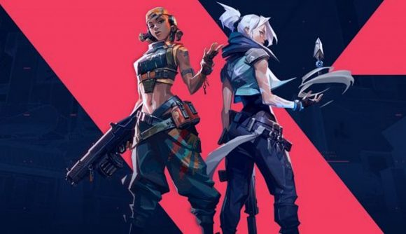 Valorant agents Raze and Jett. Raze is facing the camera wielding a weapon, while Jett faces away from camera with one of her Blade Storm baldes