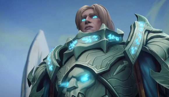 An armoured character in World of Warcraft, with glowing blue eyes
