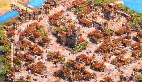 A sprawling city in Age of Empires II: Definitive Edition