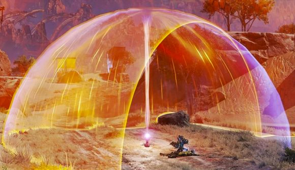 Wattson revives an ally under a bright orange dome that is a Heat Shield