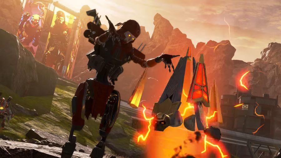 Apex Legends' robot assassin Revenant uses his glowing red Death Totem in a desert landscape