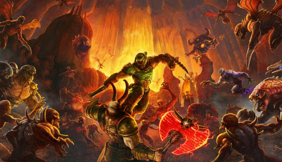 The armoured DOOM Slayer surrounded by demons