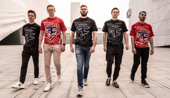 The FaZe Clan PUBG PGI.S team wearing a limited edition red and black jersey
