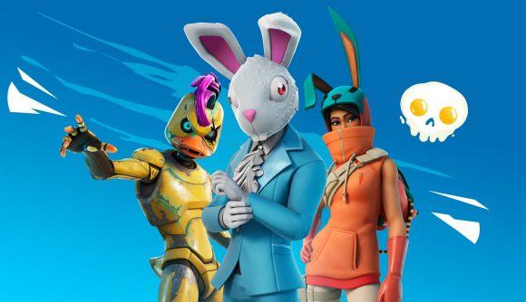 A rabbit in a blue suit, a yellow robotic duck, and a bunny-eared person in an orange hoodie