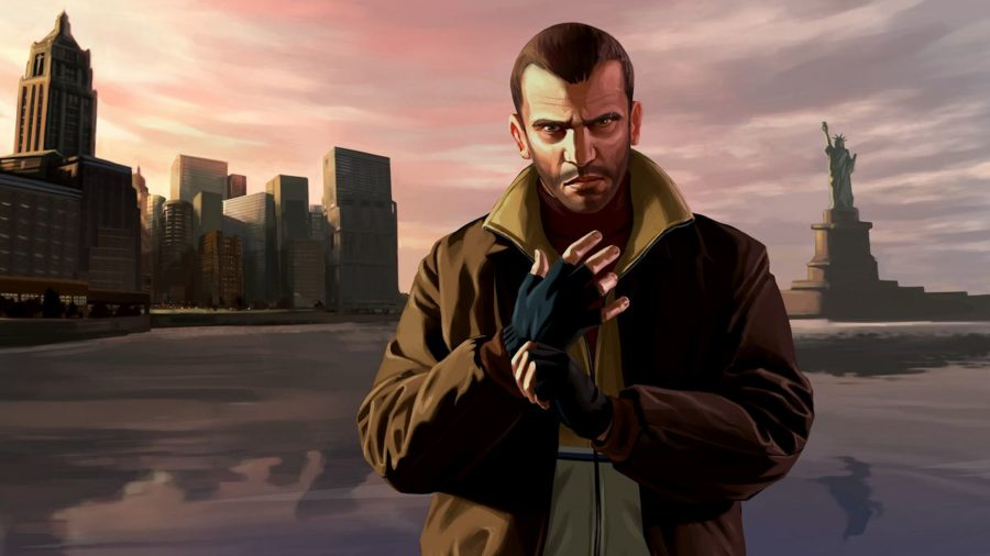 Nico Bellic puts gloves on in front of the skyline of Liberty City