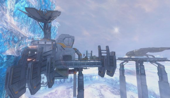 A futuristic platform extends from a blue glacier