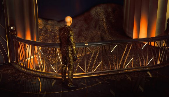 Agent 47 dressed in gold, surrounded by the golden opulence of Hitman 3's Dubai locale