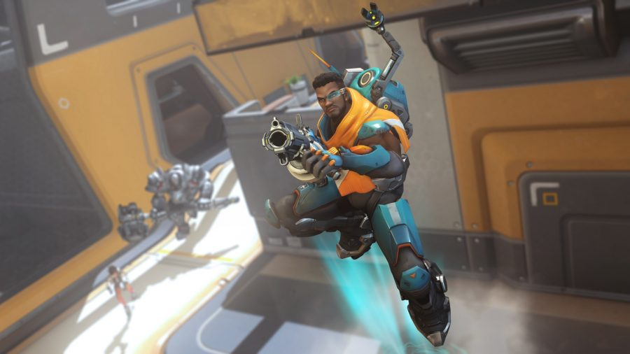 Overwatch hero Baptiste boosting upwards holding a gun and wearing a blue and orange suit of armour