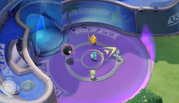 Five Pokémon stand in a large purple circle, ready to take to the field of battle
