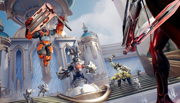 Predecessor screenshot. It shows an armoured hero flying through the are, an ogre-type hero, and a sword-wielding hero surrounding a tower. A palace is in the background