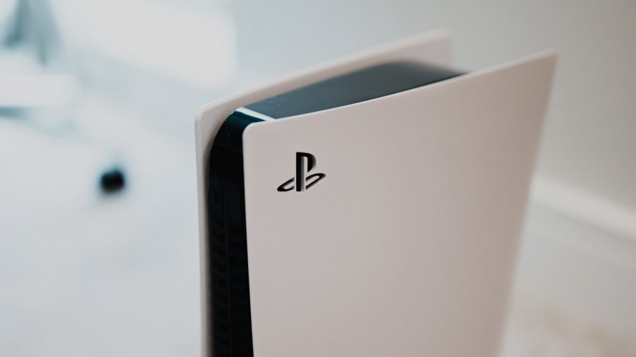 A close up of the side of a PS5 console