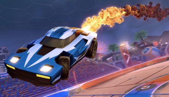 A rocket League car with a Golden Cosmos boost