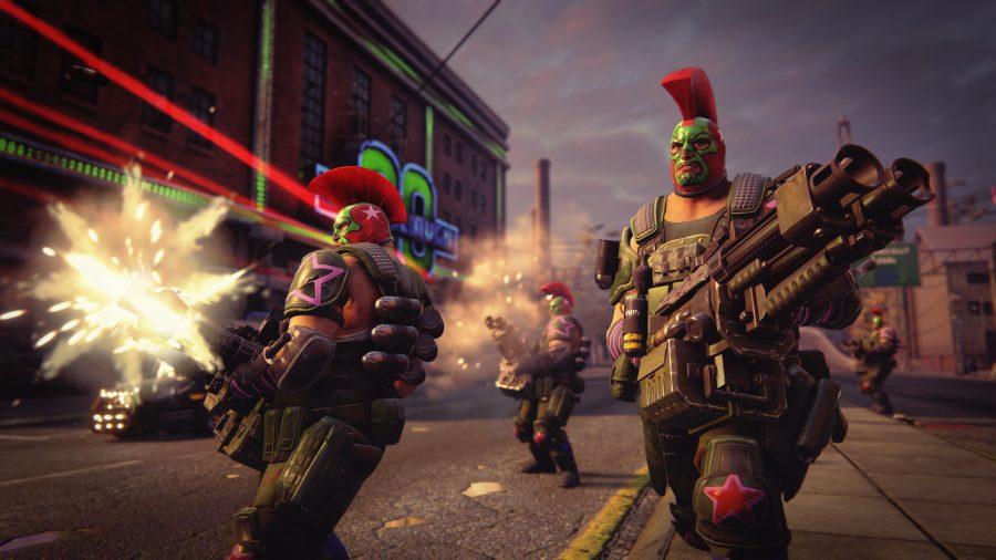 Saints Row 3 players wielding big machine guns