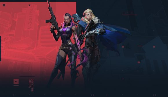 Valorant agents Sova and Astra stand in front of a red and black background