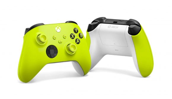 Xbox's vibrant lime green controller against a white background