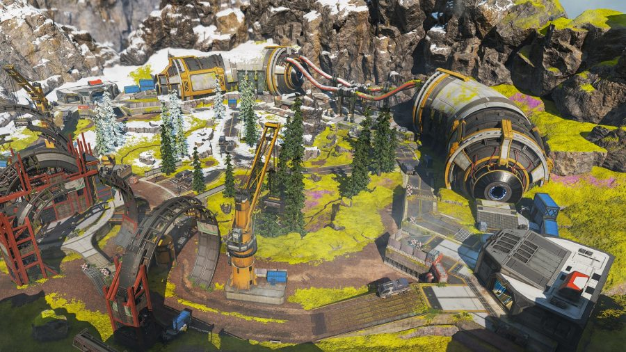 Apex Legends' Phase Runner arena, on a grassy mountaintop