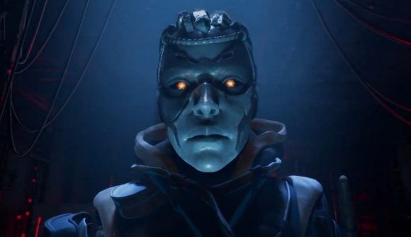 Ash's robotic head is bathed in blue light