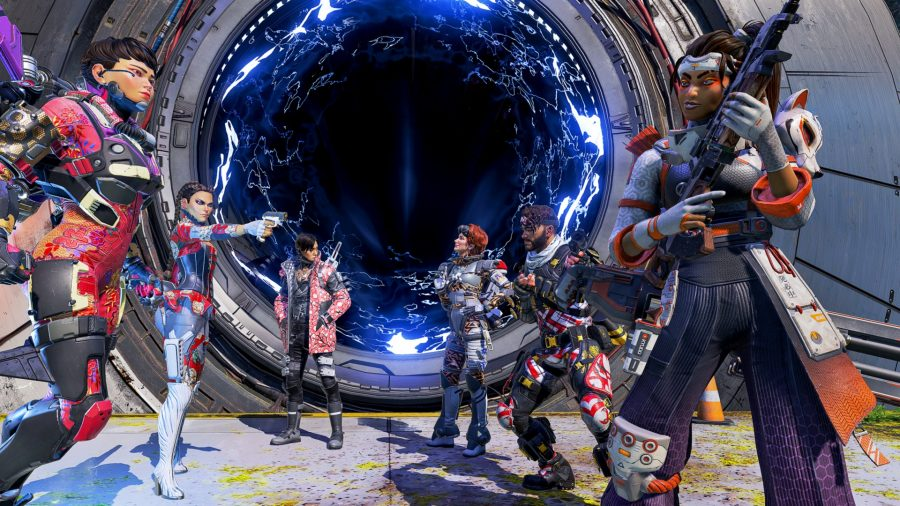 Six Apex Legends characters stand around a big blue portal