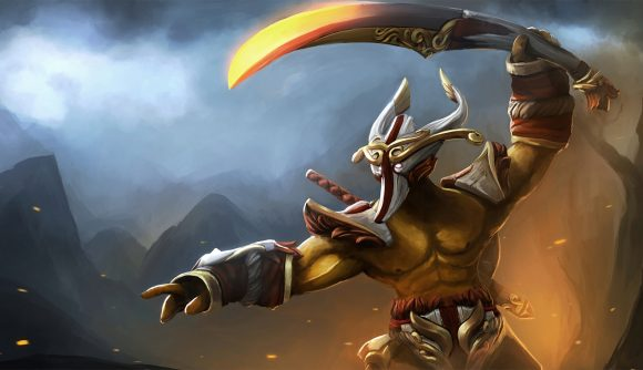 A muscular character with a horned bone mask lifts a scimitar above his head