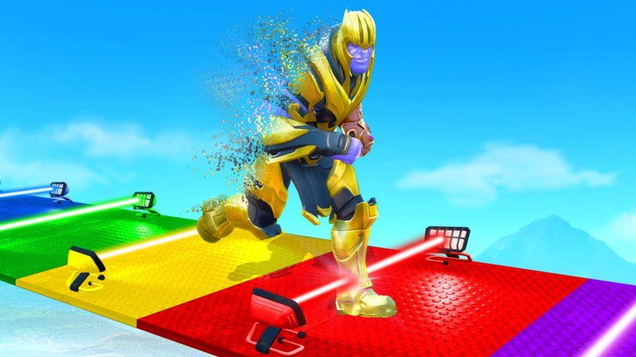 Thanos dashing across a Rainbow coloured road