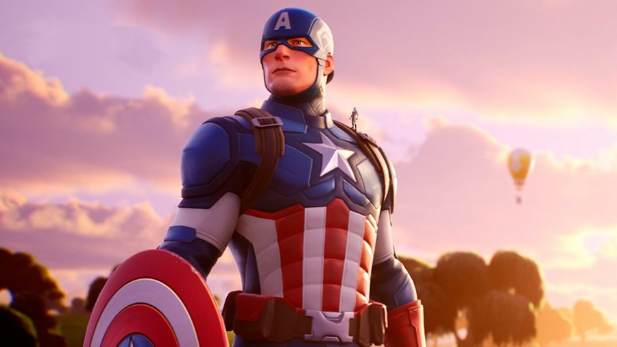 Captain America in red, white, and blue states on in Fortnite