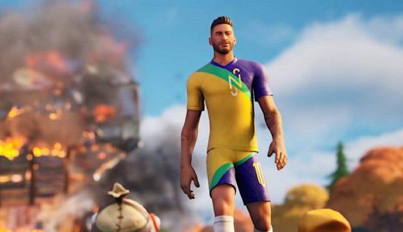 Neymar walking away from an explosion in Fortnite