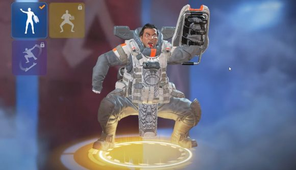 Gibraltar doing a stereotypical haka dance in the character selection screen