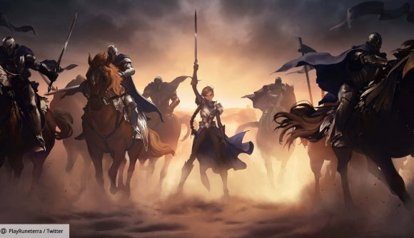 An armoured figure on a dusty battlefield, surrounded by knights on horseback