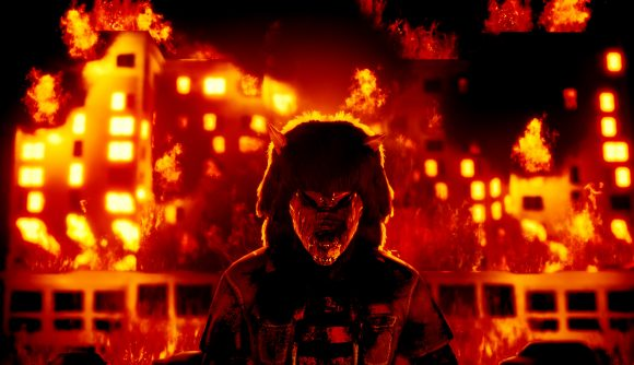 A man in a wolf mask faces the camera menacingly, in front of a burning building
