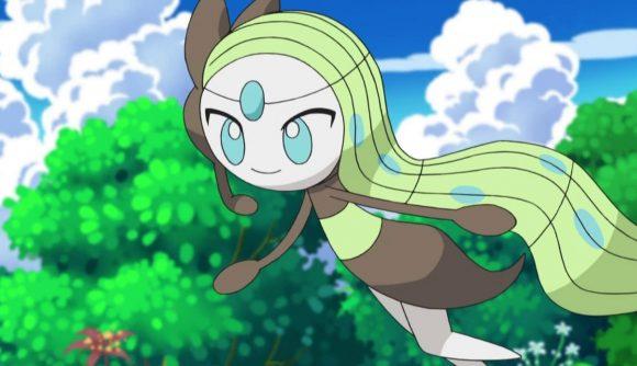 Meloetta floats through a forest, green hair flowing behind it