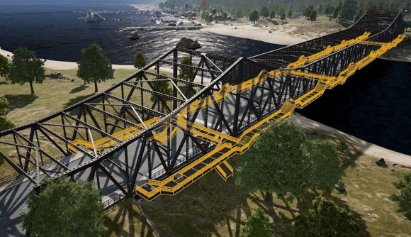 Erangel's main bridge with the new side sections highlighted in yellow