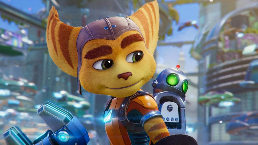 Ratchet looks to the right, with Clank strapped to his back
