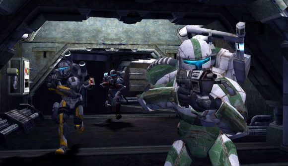 A clone wearing white and green armour aims down the sights of his rifle
