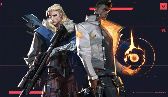 Valorant's Sova pulls back an arrow on his bow, while Phoenix readies a fireball