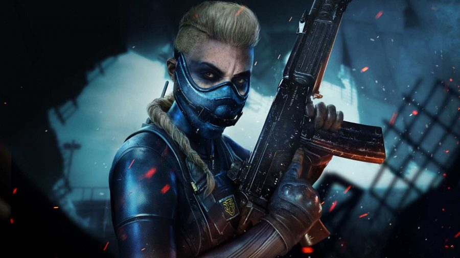 An operator wearing a dark blue leather combat suit and breathing mask points her gun to the sky