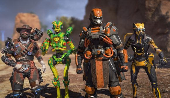 Four Apex Legends characters line up, sporting animal-themed skins