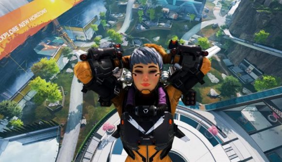 Valkyrie puts her hands behind her had as she falls the floor of World's Edge