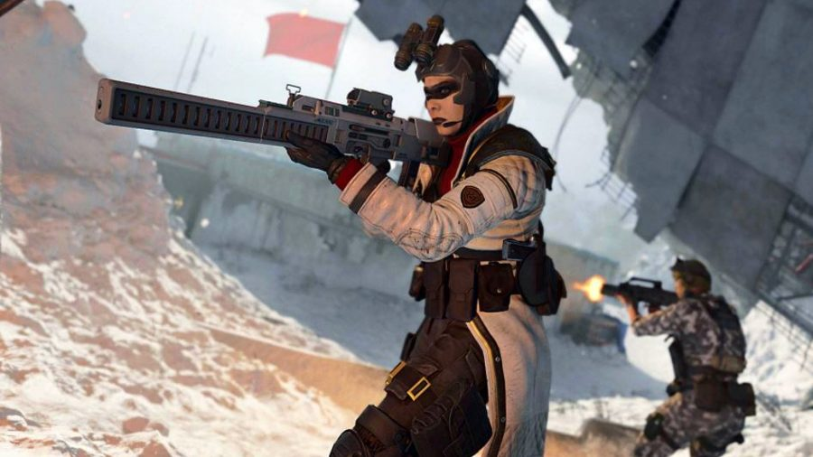 An operator wielding a CARV.2 tactical rifle in Black Ops Cold War