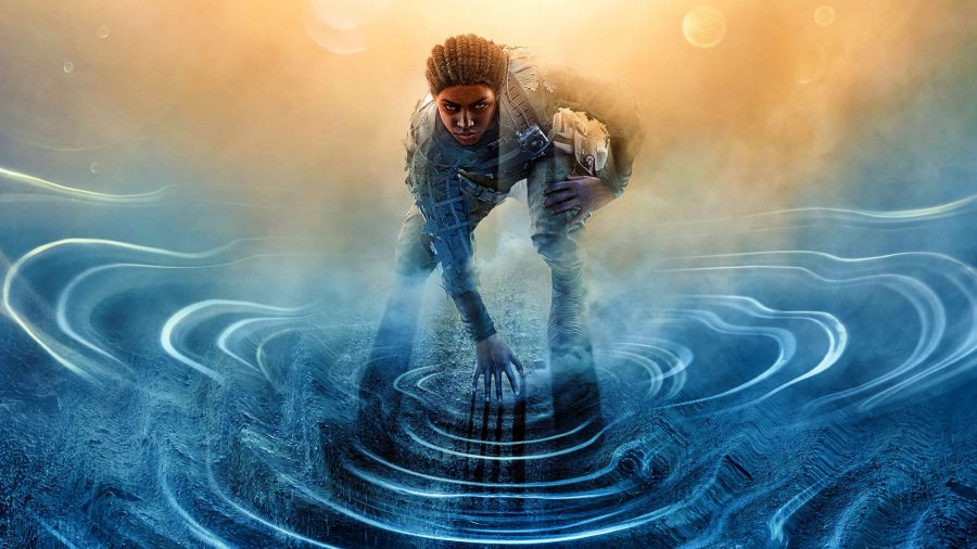 A woman touches the surface of a pond as she readies herself to go forward