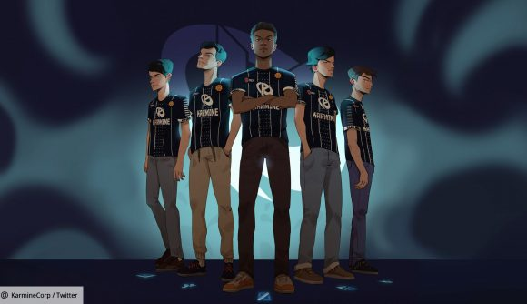 French League of Legends team Karmine Corp in cartoon format