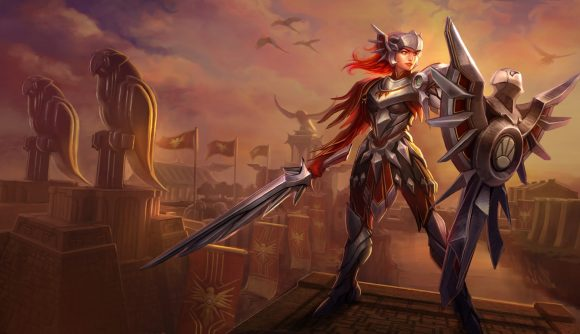 An armour-clad woman stands on top of a turret wielding a big shield and sword