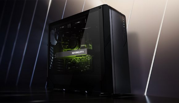 An Nvidia-powered PC, a green light glows from within