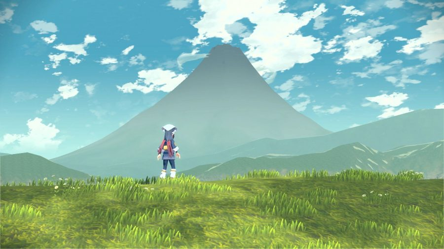 A female character looks out to the mountains